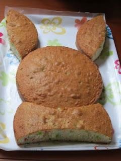 Bunny cake made from two round cakes More