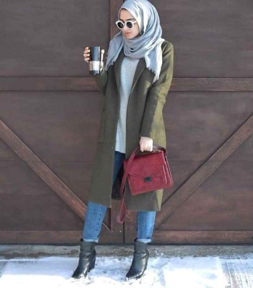 Olive long coat hijab look-New hijab fashion inspirational looks – Just Trendy Girls