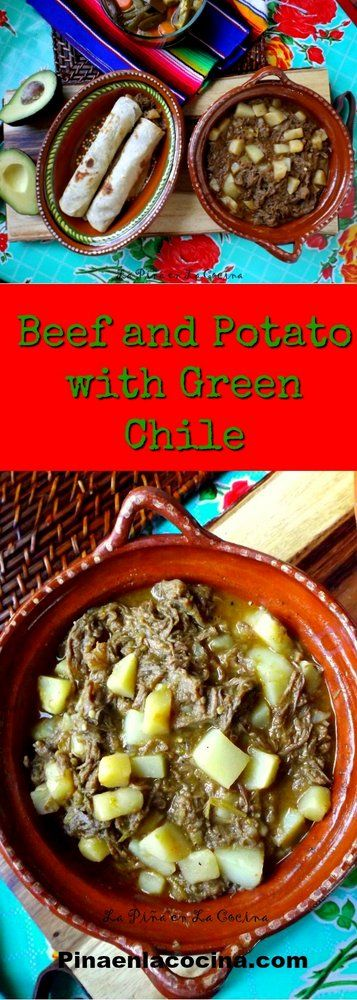 beef and potato with green chile #beef and potato #carneguisada