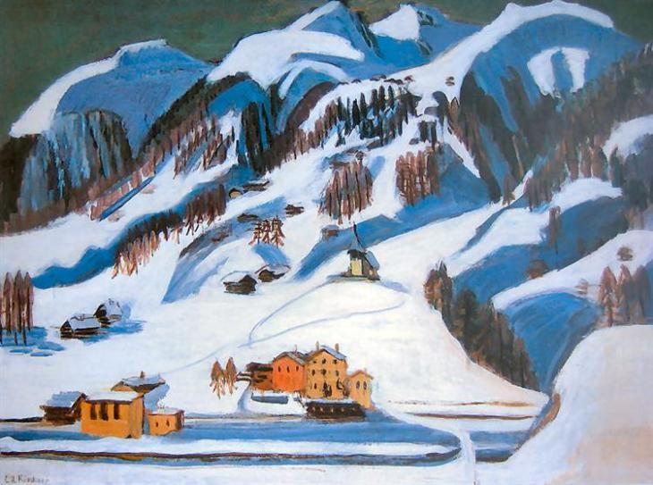 Βουνά και σπίτια στο χιόνι - Ernst Ludwig Kirchner 1924