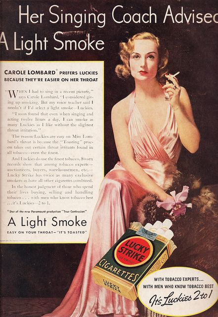 """Carole Lombard for Lucky Strike Cigarettes Carol, no! #ads #vintage - """"her singing coach advised a light smoke."""""""