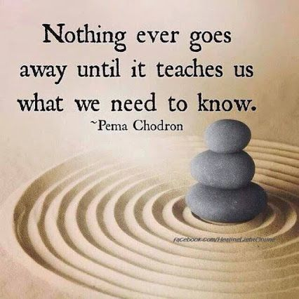 Nothing ever goes away until it teaches us what we need to know. ~ Pema Chodron                                                                                                                                                                                 More