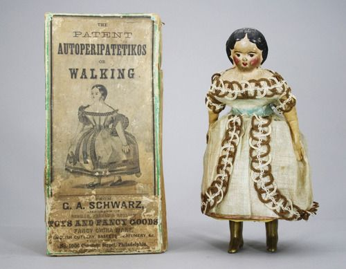 A clockwork doll from the 1860s. Dolls of this type were known as 'Autoperipatetikos' meaning 'the automatic walking one' and were amongst the first ever walking toys to be produced.