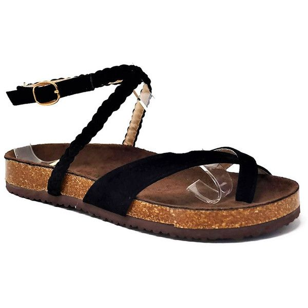Women's Mata Shoes Mata Women's Open-Toe Sandals ($21) ❤ liked on Polyvore featuring shoes, sandals, black, braided ankle-wrap sandal, black open toe shoes, open toe sandals, black woven sandals and braided sandals