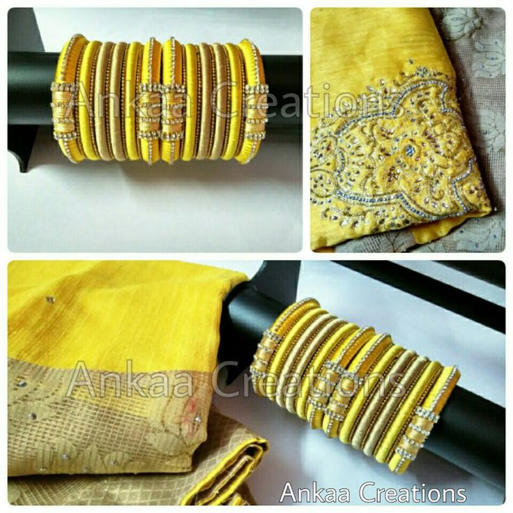 these yellow and dull gold silk thread bridal bangles are done to match a…