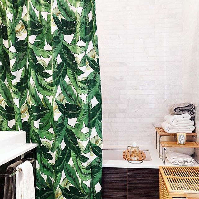 New to the shop this week ✨ | our Palm Leaf Shower Curtain is back!  #ShopSaltHouse