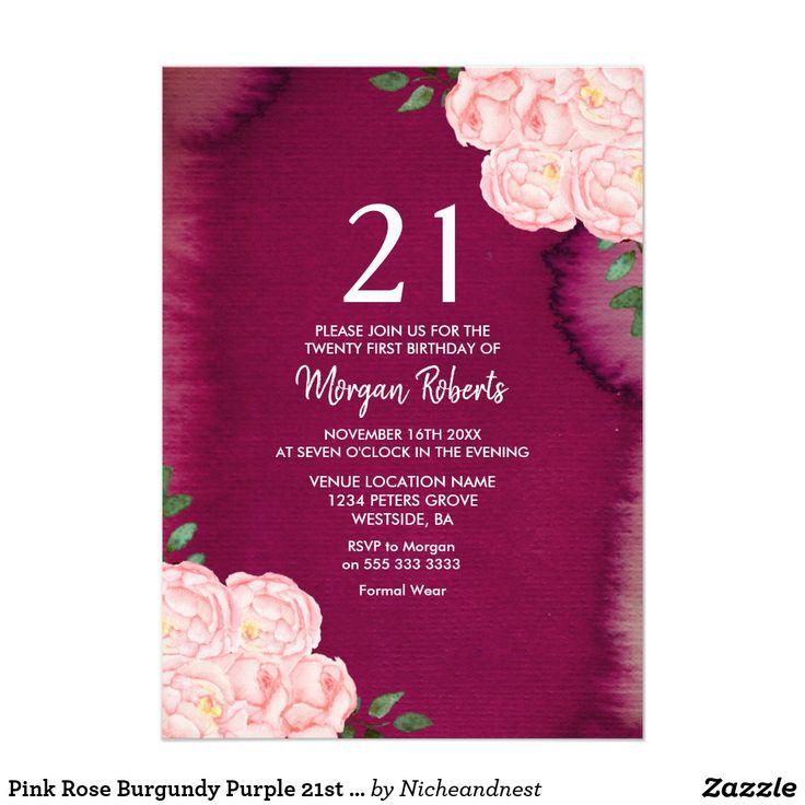 wedding stickers for invitations%0A Pink Rose Burgundy Purple   st Birthday Invite