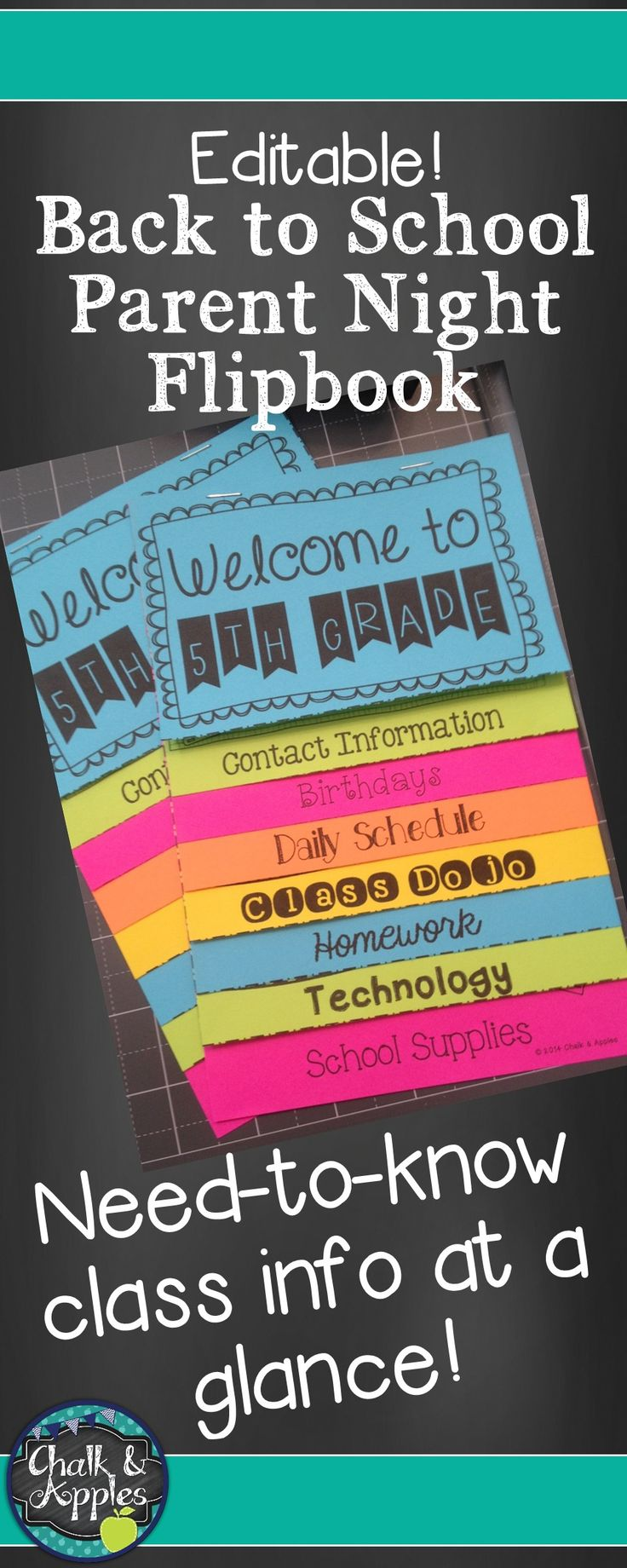 This editable flip book is an easy way to get important information to parents for Meet the Teacher or Parent Night at the beginning of the school year. Put a magnet on the back for a quick reference parents can hang on the fridge!