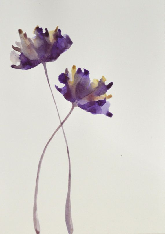 Original two lovely tulip flowers ink paintings by SimpleArtStudio