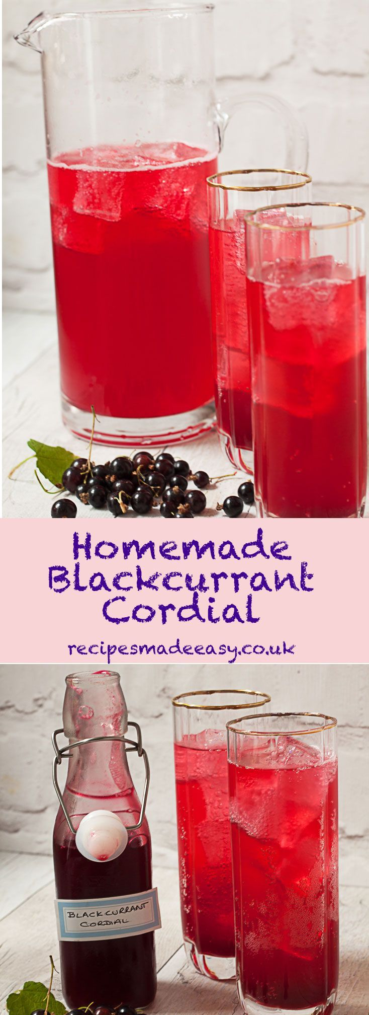 Homemade blackcurrant cordial by Recipes Made Easy-The perfect refreshing summer drink to make with a glut of homegrown or pick your own blackcurrants. via @jacdotbee