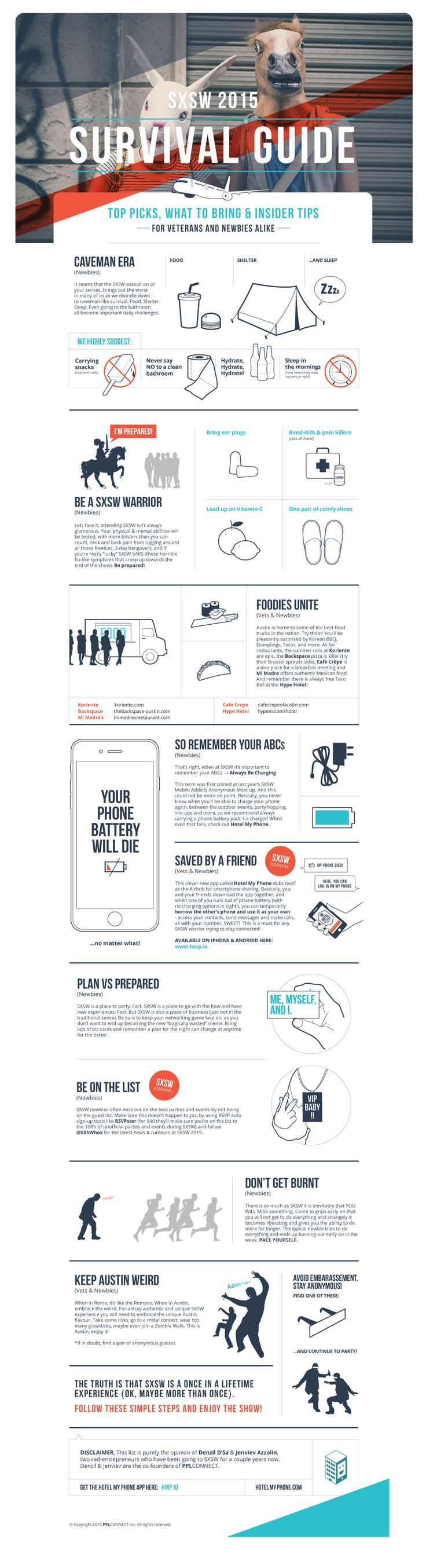 SXSW 2015 Survival Guide: http://about.pplconnect.mobi/blog/sxsw-2015-survival-guide/  For newbies & veterans #SXSW #SXSWi #SXSWinteractive #SXSW2015