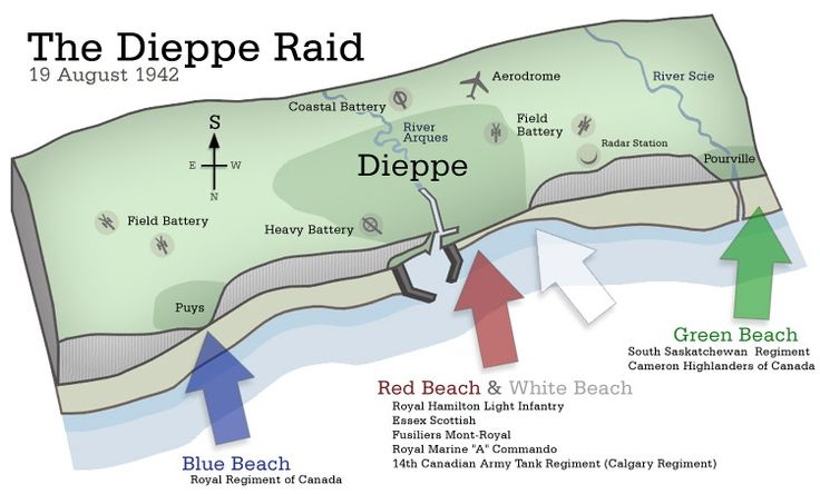 Map of Dieppe - Calgary Tanks were part of the assault on Red and White Beaches