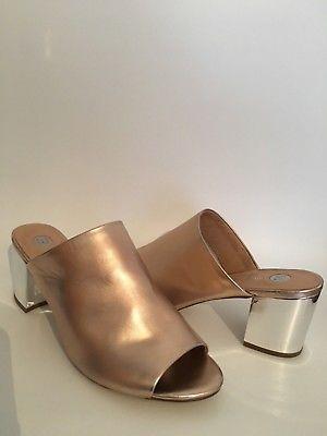 River Island Gold Rose Patent Low Block Heel Shoes Slip On Peeptoe