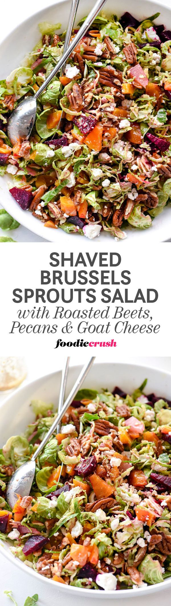 This hearty Brussels sprouts salad sweetened with roasted beets and crunchy pecans is delicious as a vegetarian main dish or served as a side. The tangy mustard dressing softens the bite of the Brussels sprouts with a hint of maple syrup that's topped wit
