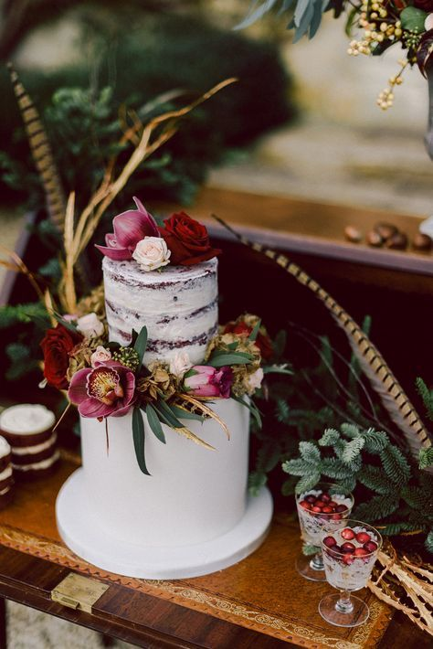 Two Tier Wedding Cake with Naked Layer | Marsala | Winter Wedding Inspiration | Cornwell Manor, Cotswolds | Chris Scuffins Photography | http://www.rockmywedding.co.uk/winter-romance-in-the-cotswolds/