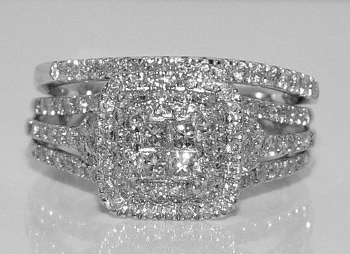 Save $3,600.00 on 1ct Diamond Wedding SET Bridal 2pc Engagement Ring + Band Princess Cut 14k White Gold; only $1,395.00