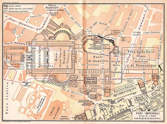 Imperial Fora Vintage City Plan 1925 Rome: Fora Vintage, Ancient Rome, Cities Maps, Cities Plans, Ancient Architectural, 1925 Rome, Fori Imperiali, Fora Maps, Urb Rome Ancient