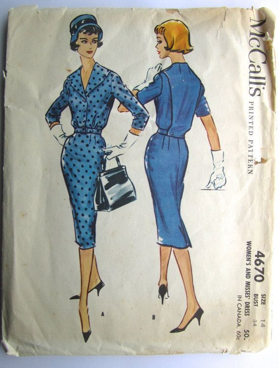 """Vintage Sewing Pattern 1950's Ladies' Dress Suit 34"""" Bust McCall's 4670 - With FREE Pattern Grading E-book"""
