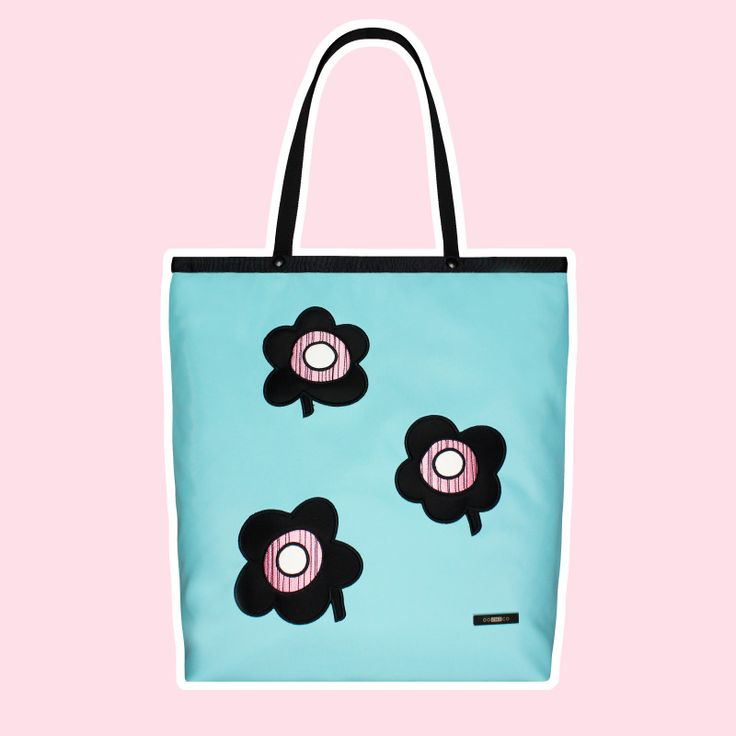GOSHICO, ss2015, Shopper bag, mint + pop art flowers. To download high or low resolution photos view Mondrianista.com (editorial use only).