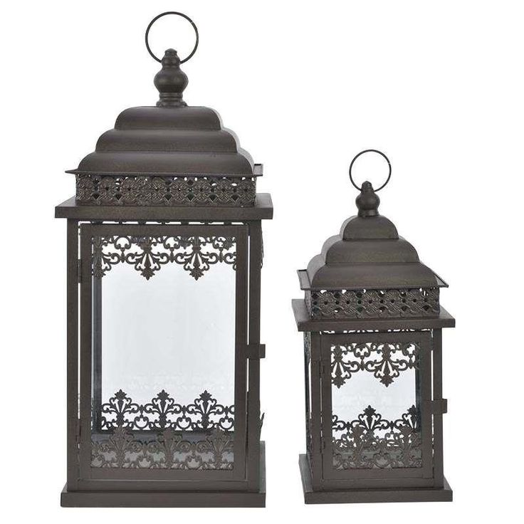 S/2 IRON BROWN LANTERN 23X23X50