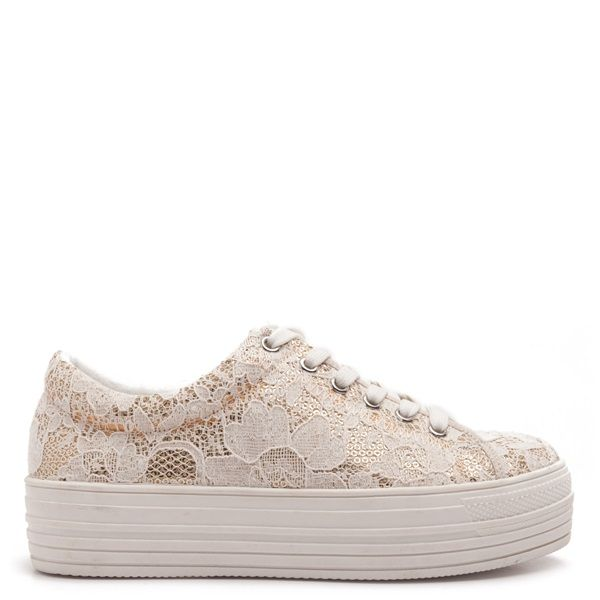 Flatform trainers in beige lace over beige sequins.