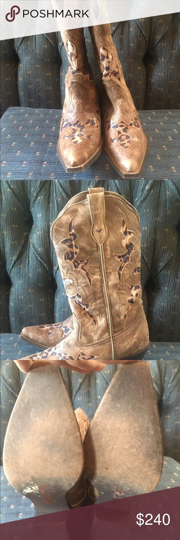 Cheetah Laredo cowboy boots worn once! Paid nearly 300 for these. Worn once to a Luke Bryan concert. Laredo stamp on bottom still intact. Laredo Shoes Heeled Boots