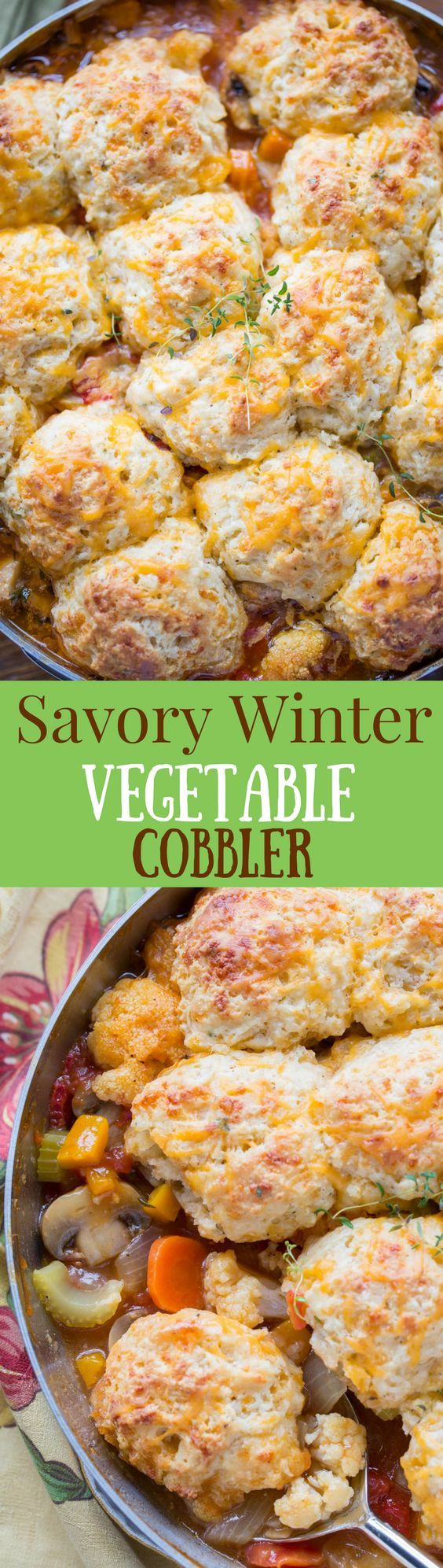 Savory Winter Vegetable Cobbler with Cheesy Herbed Biscuits ~ a delicious, filling, vegetable treat loaded with mushrooms, cauliflower, butternut squash, onions, carrots and celery. Topped with a soft cheesy biscuit to soak up all the juice! www.savingdessert.com