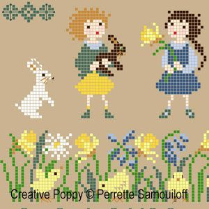 Perrette Samouiloff - Chicks in a Spring Garden (cross stitch pattern)