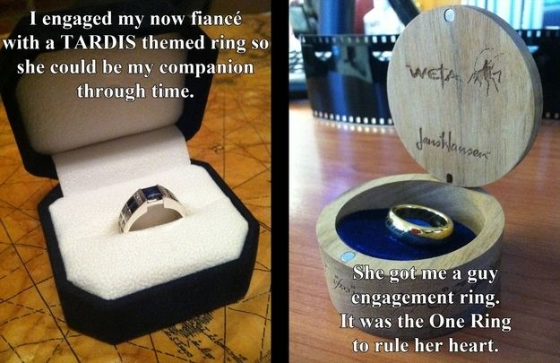 A twopher! He proposes with a TARDIS, she counters with the One Ring. | 28 Wedding Proposals Every Geek Dreams Of