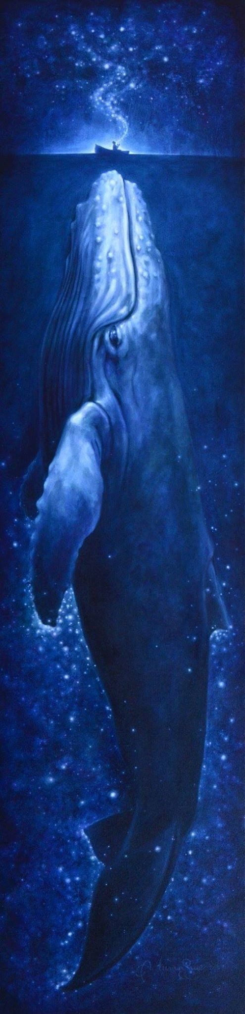 """""""Whale Song"""" 18""""x 72"""", acrylic on canvas.  ...The whale teaches about listening to your inner voice, understanding the impact your emotions have on your everyday life, and following your own truth. We are encouraged to understand that things are not always what they appear on the surface, and to open ourselves to the mysteries of the unknown. Whale medicine also urges us to sing, to express our inner hearts and to use sound frequencies that balance our emotional bodies and he"""