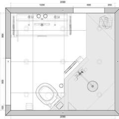 Plattegrond kleine badkamer met inloopdouche van 200x 185cm: moderne Badkamer door Sani-bouw