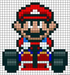 Mario from Mario Kart perler grid pattern
