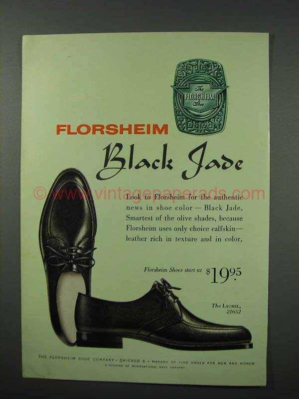 ab23bbdcc5555 1960 Florsheim Laurel 21652 Shoe Ad - Black Jade | Vintage Men's ...