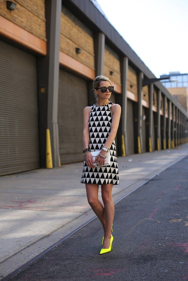 black and white dress with yellow shoes my style