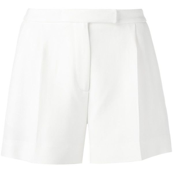 Elie Saab tailored shorts (51465 DZD) ❤ liked on Polyvore featuring shorts, white, elie saab, white shorts, white tailored shorts and tailored shorts