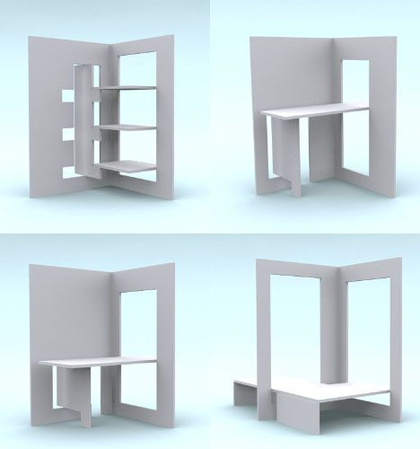 Flat pack designs are in danger of becoming altogether too dominated by stylistic affectations and functionless trends. This refreshingly pragmatic vision for flat pack furniture blends the best qualities a flat pack strategy has to offer: portability, sustainability and modularity. In short: pr ...