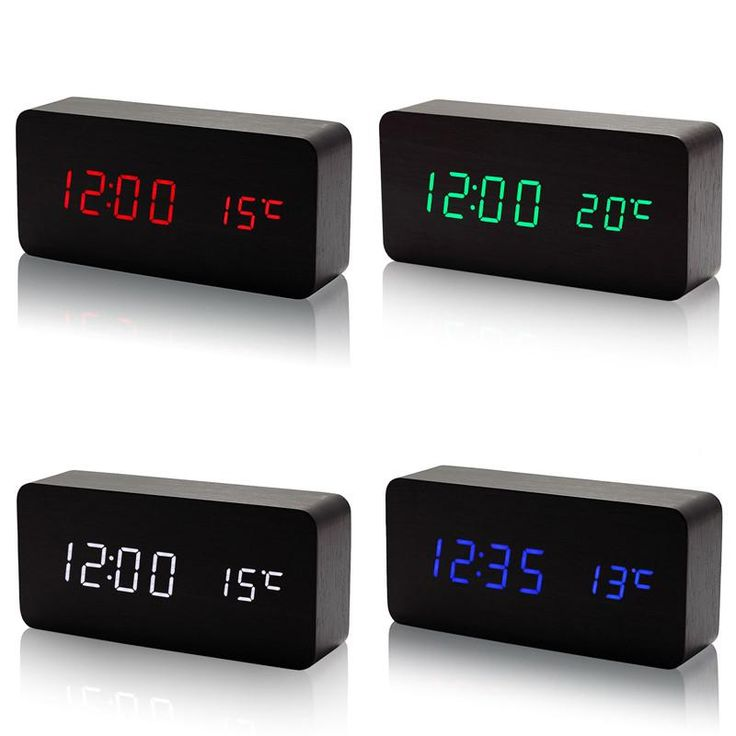 Wooden LED Alarm Clock with Temperature