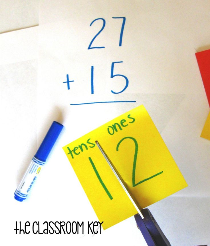 addition with regrouping using sticky notes--just this picture; link doesn't…