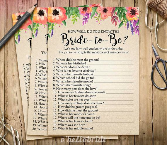 Bridal Shower How Well Do You Know the Bride To Be by ohellobride