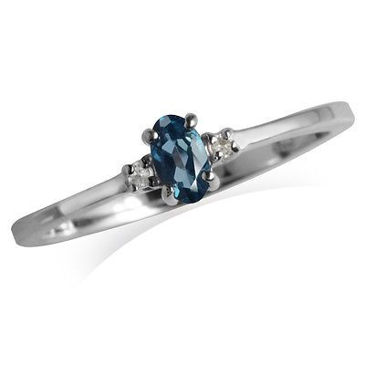 Genuine London Blue Topaz White Gold Plated 925 Sterling Silver Petite Ring