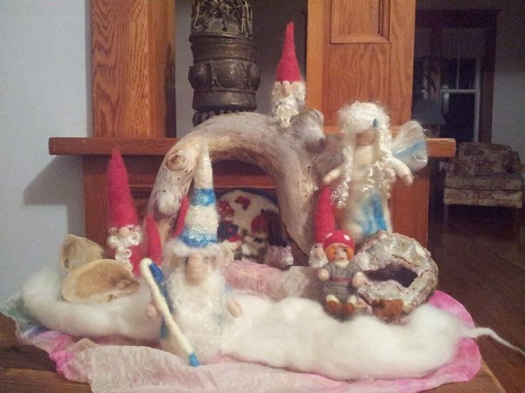 Winter nature table. Waldorf needle felted king with gnomes