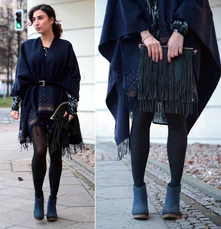 Samieze - Taifun Poncho, H&M Wedges, Justfab Bag - Fringed Poncho | LOOKBOOK