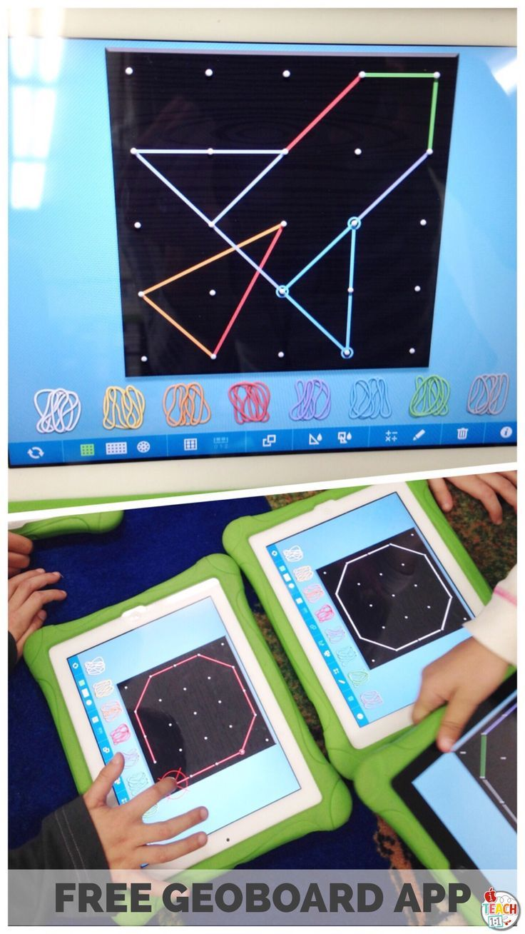 FREE Geoboard app for kids. Use this virtual geoboard to explore 2D shapes, area, perimeter, fractions, symmetry, congruence, and more! Read about how my students used this iPad app during our geometry unit and math centers.