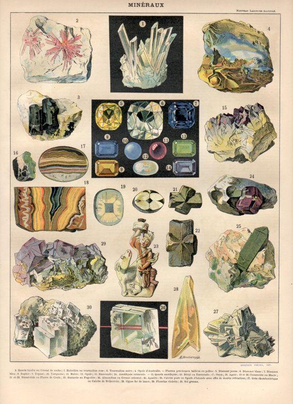 Mineralien, 1897 Antique Print, Vintage Lithographie, Mineralogie Poster, Edelsteine Print, Quarz, Turmalin, Diamant, Saphir, Edelstein