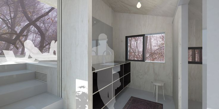 Interior view rooftop extension. Sink and bedroom with limitless view on the forest.