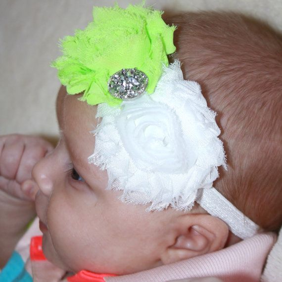 Neon Lime and White Shabby Flower Headband by RKAcreations on Etsy, $5.95