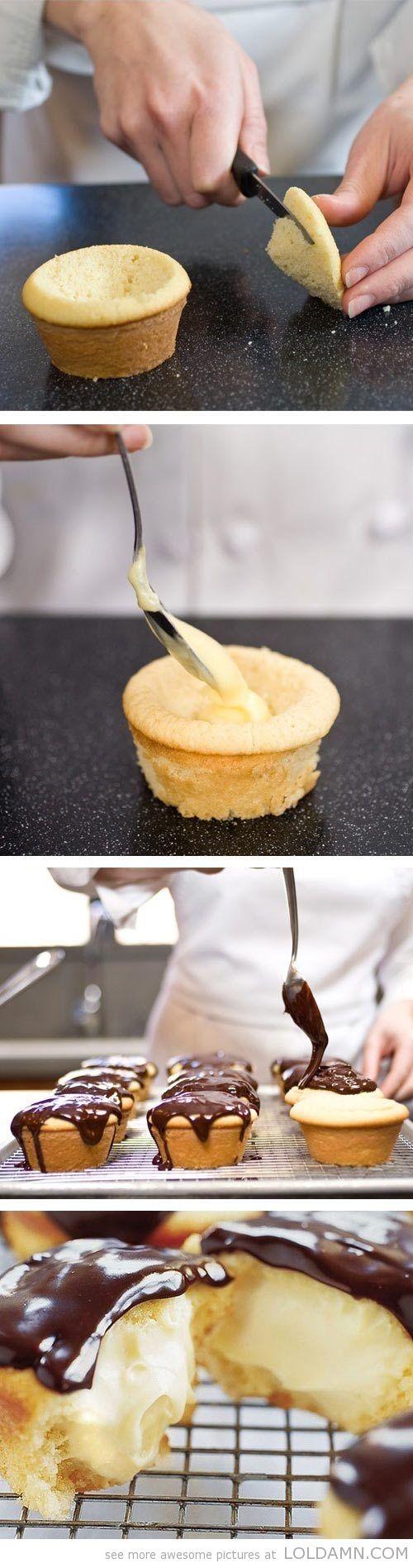 A classic Boston Cream Cupcake