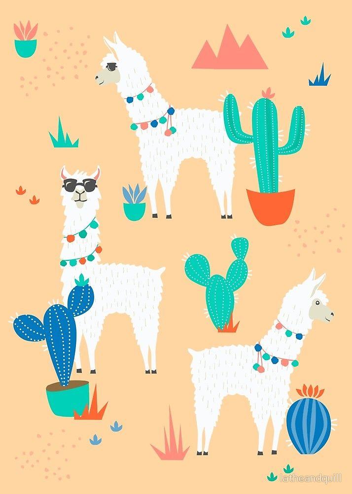 Summer Llamas In The Desert Pattern Llama Arts Art Wallpaper Iphone Pattern Art