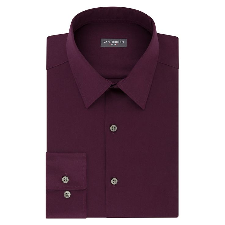 Men's Van Heusen Slim-Fit Flex Collar Stretch Dress Shirt, Drk Purple