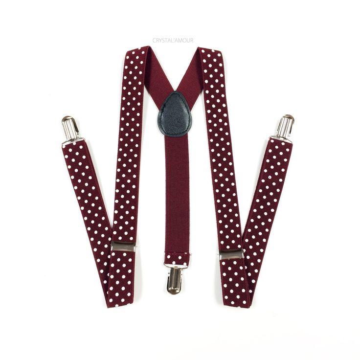 men's suspenders, burgundy suspenders, maroon suspenders, dark wine suspenders, white polka dot suspenders, burgundy wedding by crystalAmour on Etsy https://www.etsy.com/listing/241731646/mens-suspenders-burgundy-suspenders